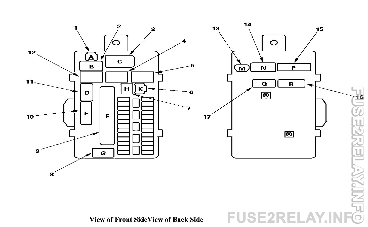 Acura TL (2013 - 2014) fuse relay box diagram