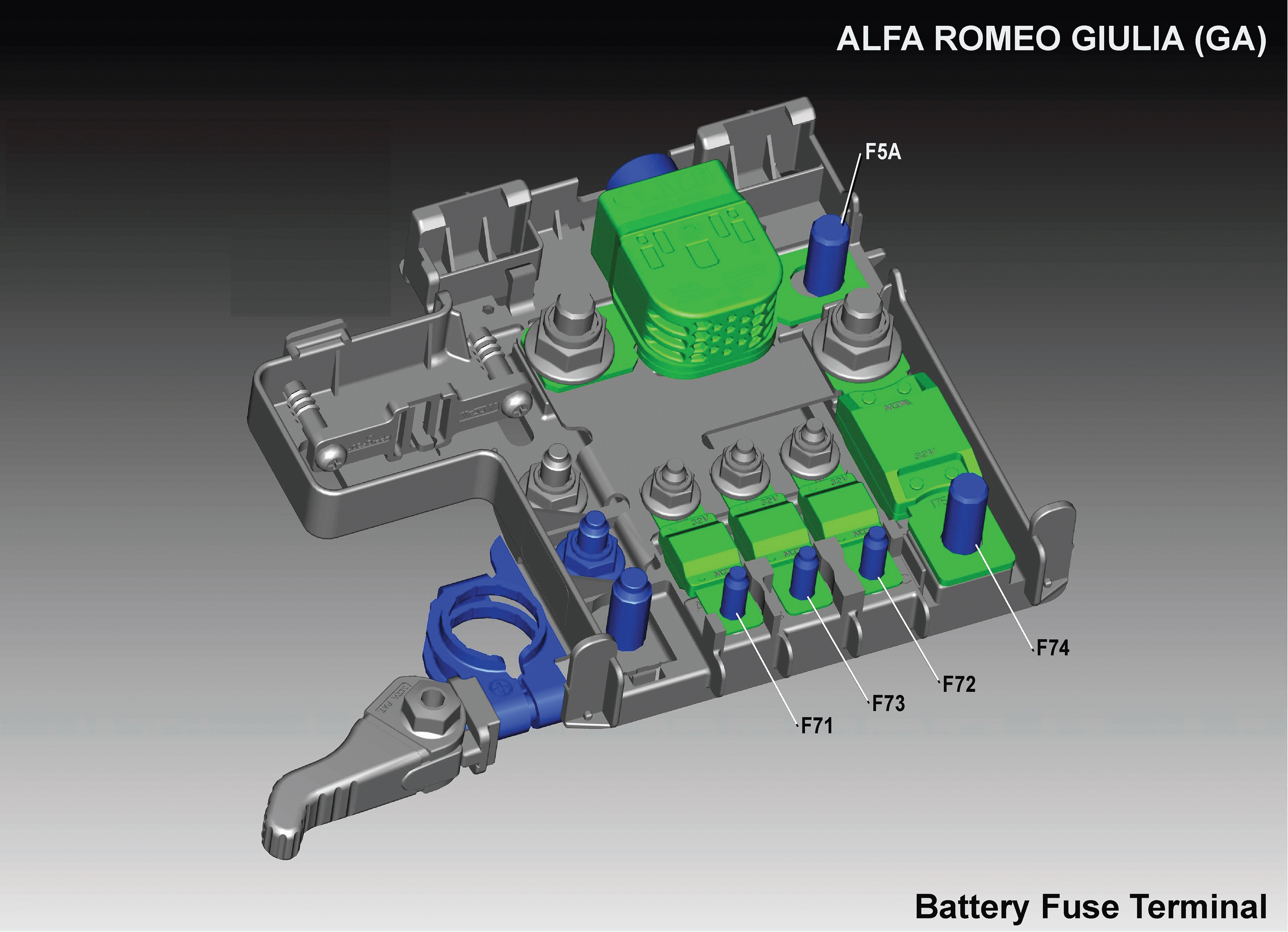 Alfa Romeo Giulia (2016 - 2018) fuse relay box diagram