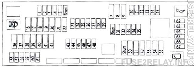 BMW 5-Series (F10/F11/F07/F18; 2011 - 2017) fuse relay box diagram