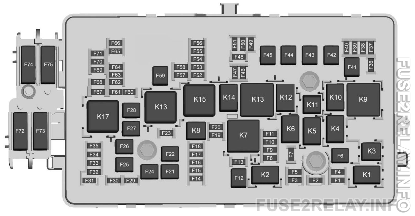 Chevrolet Colorado (2018) fuse relay box diagram