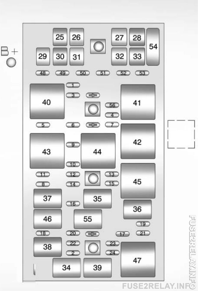 Chevrolet Corvette (2012 - 2013) fuse relay box diagram