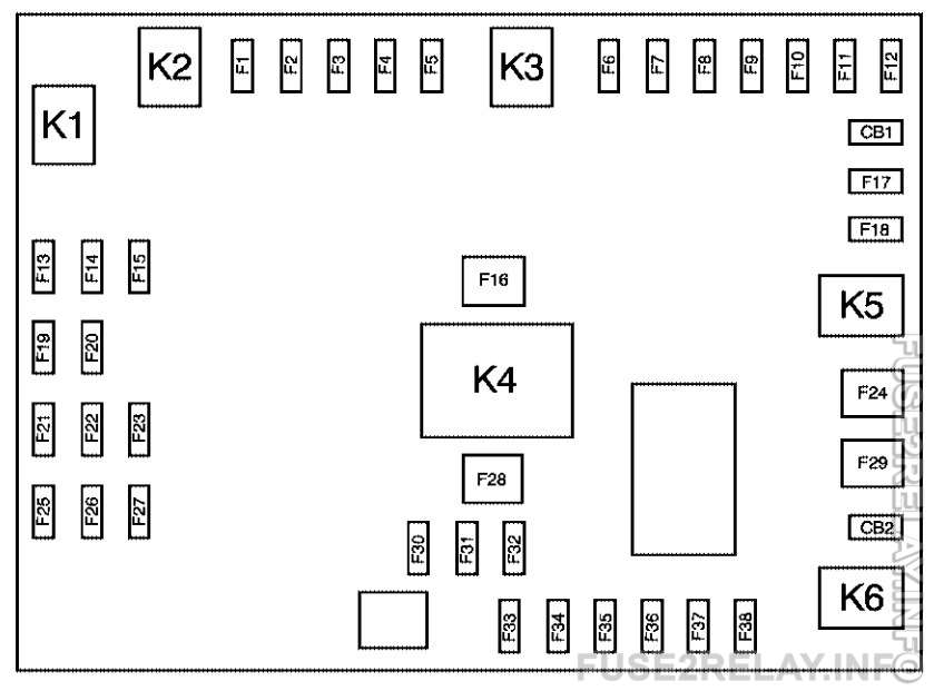 Chevrolet Express (2010) fuse relay box diagram