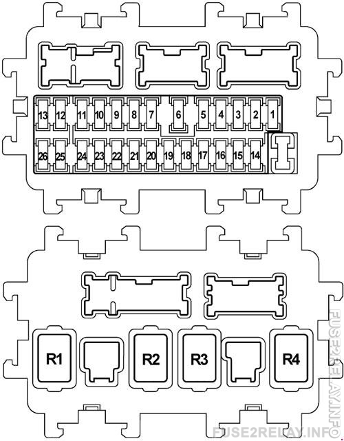 Infiniti FX35 (S51, 2008 - 2017) fuse relay box diagram